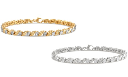 1/4 CTTW Diamond Miracle Plated Bracelet in Sterling Silver by Brilliant Diamond