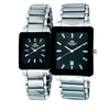 Men's or Women's Swiss Tungsten and Steel Watch with Crystal Baguettes