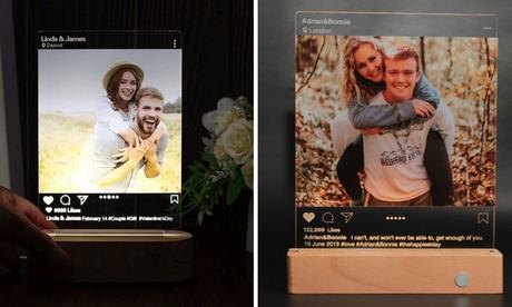 Personalisierbares Foto-Nachtlicht im 3D Instagram Style mit Holzsockel von Justyling