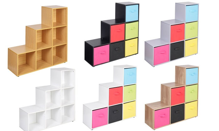 Six-Cube Step Storage Shelf Unit with Optional Six Colour Drawers