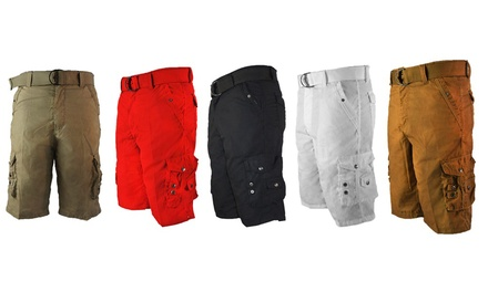 """Chams Men's Twill Belted Cargo Shorts - 13"""" Inseam Was: $44.99 Now: $12.99."""