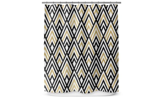 Black White And Gold Chevron Shower Curtain