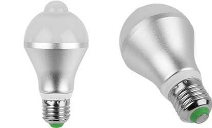 Triangle bulbs led strip lights waterproof flexible led strip shop groupon 5w or 9w motion sensor pir led light bulb 1 or 2 pack aloadofball Image collections