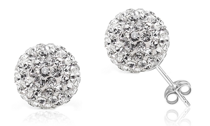 Sterling Silver Crystal Ball Studs With Swarovski Elements