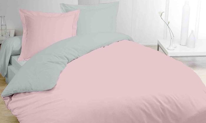 parure de lit bicolore groupon. Black Bedroom Furniture Sets. Home Design Ideas