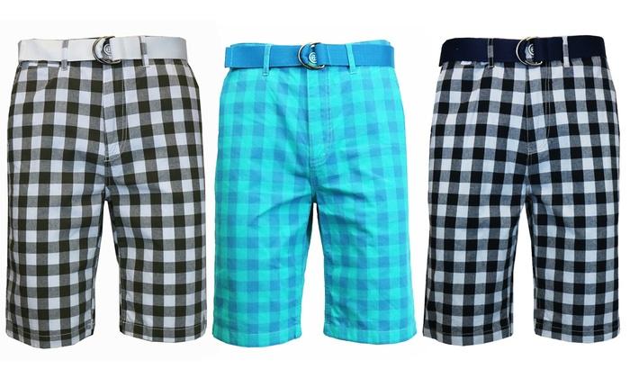 Men's Flat-Front Gingham Belted Shorts