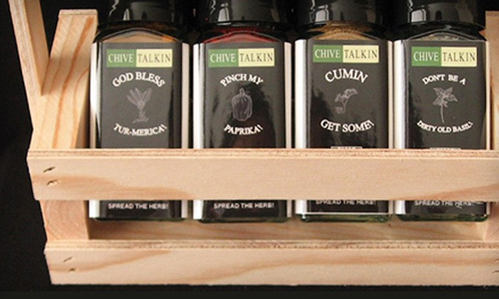Chive Talkin: Spice Crate with Eight Spices and Option for Three Refills from Chive Talkin (Up to 51% Off)