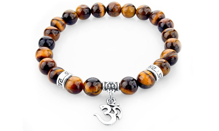 Groupon Goods Global GmbH: One or Two Om Spiritual Charm Bracelets with Tiger's-Eye Natural Stones