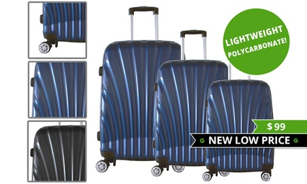 $99 for a ThreePiece Lightweight Polycarbonate Luggage Set Don't Pay $499