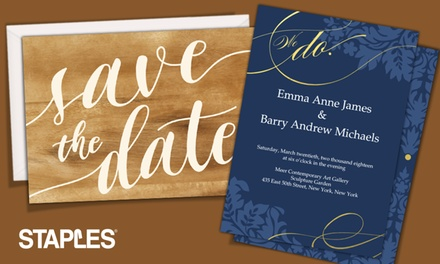Custom Same-Day / Delivered Save the Date Cards or Wedding Invitations from Staples (Up to 61% Off)