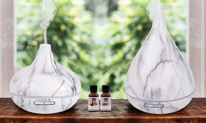 Marble-Effect Diffuser with Two Essential Oil