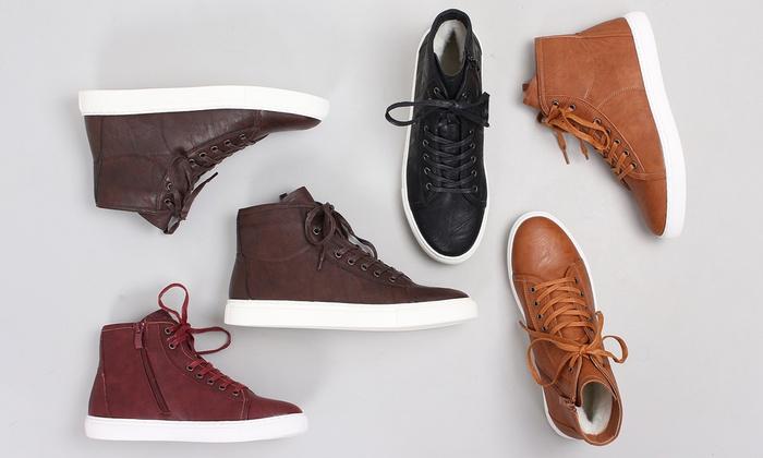 Baskets montantes en cuir femme   Groupon Shopping