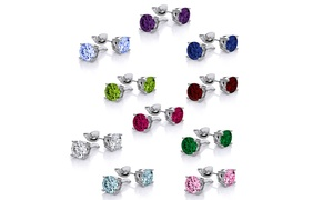 18K White Gold-Plated Stud Earrings with Swarovski Elements (10-Pair)