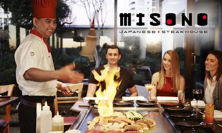 7Course Teppanyaki Menu with Wine $49, 2 $97 or 4 People $193 at Misono Japanese Steakhouse Up to $316