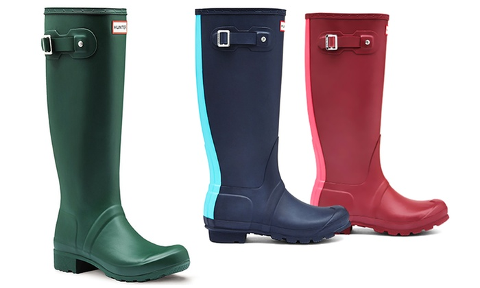 Hunter Stripe or Tour Women's Tall Rubber Rain Boot (Size 6) | Groupon