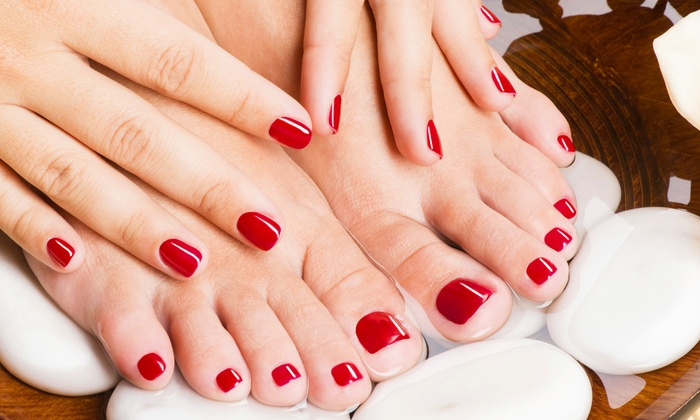 Modele Hair and Beauty Salon - Vaughan: Shellac Mani & Pedi with Paraffin, Classic Mani-Pedi, or Shellac Change at Modele Hair & Beauty (Up to 54% Off)