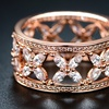 Cubic Zirconia Butterfly Eternity Ring in Rose Gold Plating by Barzel