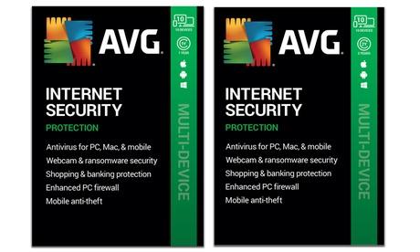 Protection AVG Internet Security avec Anti-virus 2020 pour 10 appareils multiples