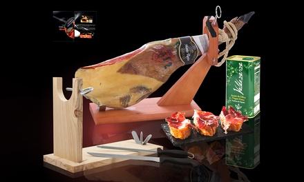 Serrano of Iberische Premium ham, naar keuze met standaard, messen, dvd en extra vergine olijfolie