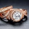 Cubic Zirconia Bridal Ring Set in 18K Rose Gold Plating by Hobart