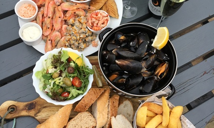 Hot and Cold Seafood Platters with Mussels, Chips and Prosecco for Two or Four at The Jolly Sailor
