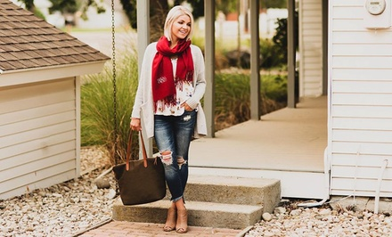 One, Two, Three, Five, or Ten Personalized Monogrammed Pashmina Scarves from Qualtry (Up to 84% Off)
