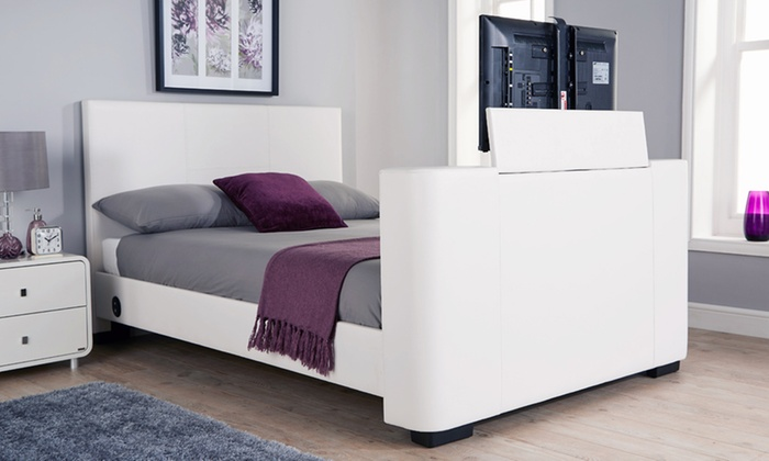 Newark Electric TV Bedstead with Optional Bonnell Mattress for £395