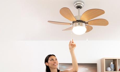 Ventilador de techo con luz InnovaGoods 55W, 75 cm