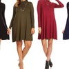 Nelly Women's Mock Neck Long Sleeve Dress. Plus Sizes Available