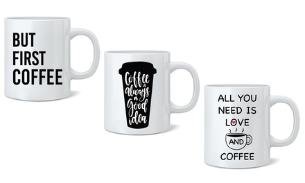 One or Two CoffeeThemed Printed Ceramic Mugs 325ml