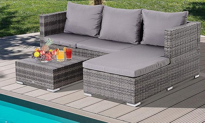 Outsunny Three-Piece Rattan-Effect Garden Furniture Storage Sofa Set from £329
