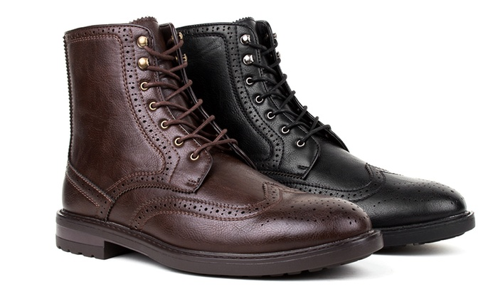 Braveman Men's Rough Grain Brogue Dress Boots