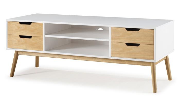 Meuble tv table de salon groupon shopping - Meuble salon scandinave ...