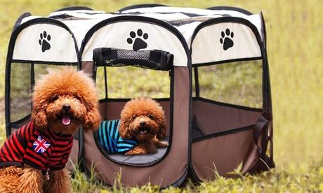 Achteckiger Hunde-Laufstall in Beige