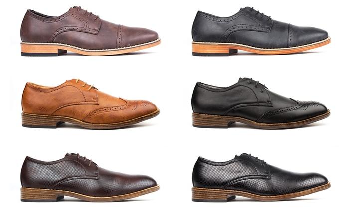 Vincent Cavallo Men's Pin-Punch Oxford Dress Shoes