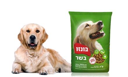 """שק בונזו 3 ק""""ג, עשוי על בסיס עוף ומתאים לכלבים בוגרים ב-29 ₪ או שק 20 ק""""ג ב-149 ₪. ניתן לאיסוף מסניפי אניפט ברחבי הארץ"""