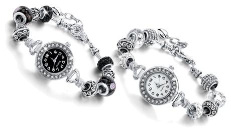 Reloj con encanto de corazón y cuentas disponible en varios colores
