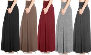 FACA Women's High-Waist Shirring Maxi Skirt with Side Pockets