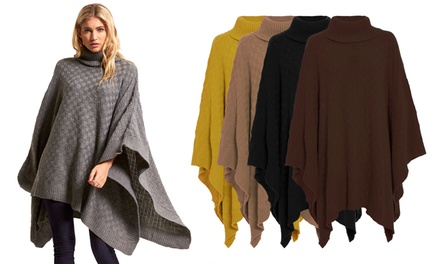 Checker Board Knitted Poncho