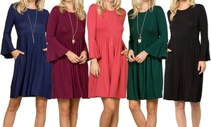 Solid Ruffled Bell Sleeves Dress with Pockets. Plus Sizes Available.