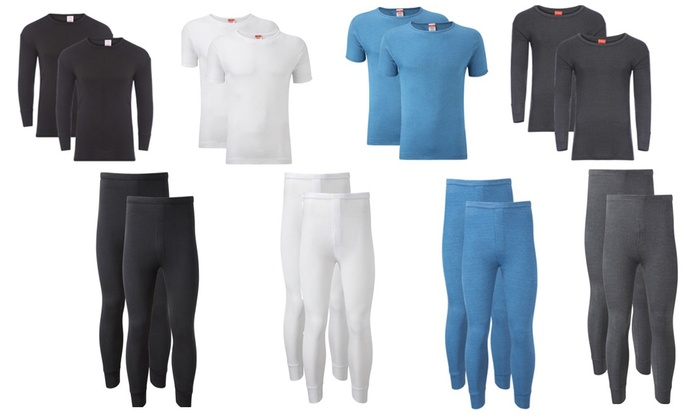 Men's Two-Pack Thermal Base Layer T-Shirts or Long Johns from £5