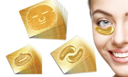 Goudkleurige collageengezichtsmaskers voor ogen, gezicht en lippen