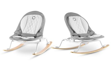 Hamaca de bebé Lionelo ROSA en gris / blanco con silla giratoria