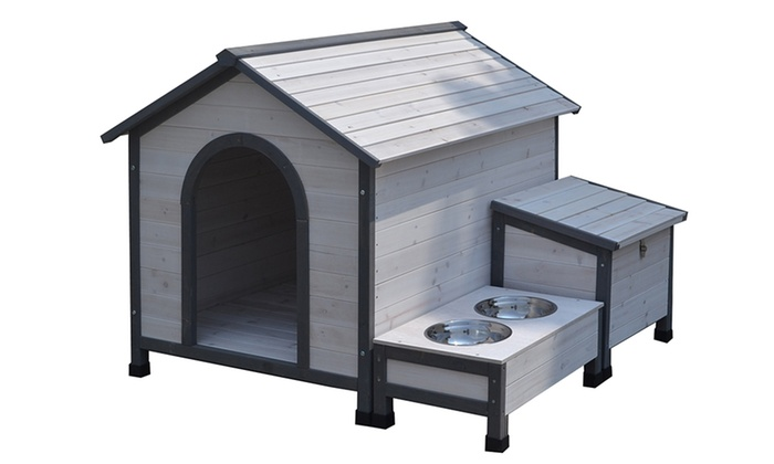 Esmart: $249 for a Wooden Dog House with Storage & Bowls