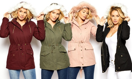 Out & About Women's Parka Anorak Jacket with Faux Fur Hood