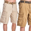 Men's 8-Pocket Belted Cargo Shorts