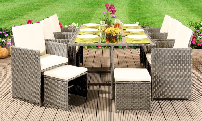 9-, 11- or 13-Piece Rattan-Effect Cube Dining Set with Optional Cover