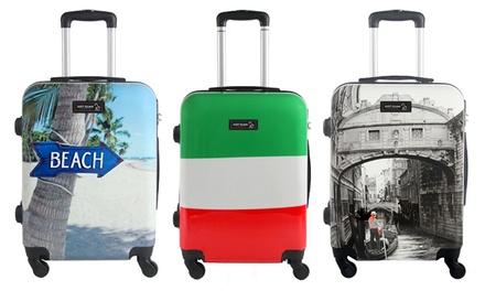 Trolley da cabina in ABS rigido con 4 ruote piroettanti disponibile in varie fantasie