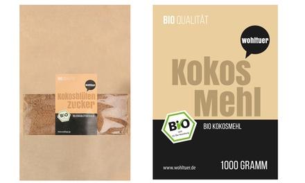 1x oder 2x Wohltuer Bio Kokosblütenzucker 1 kg und Bio Kokosmehl 1 kg