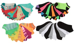 Tipi Toe Women's Colorful Patterned No-Show Socks (20-Pack)